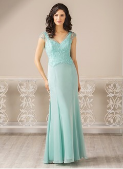 Trumpet/Mermaid V-neck Floor-Length Chiffon Tulle Mother of the Bride Dress With Beading