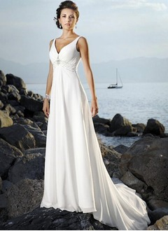 Empire V-neck Court Train Chiffon Wedding Dress With Ruffle Beading