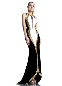 Sheath/Column Scoop Neck Court Train Satin Velvet Evening Dress With Beading