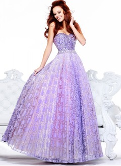 Ball-Gown Strapless Sweetheart Floor-Length Organza Lace Prom Dress With Beading Sequins Pleated