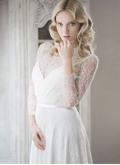 A-Line/Princess Scoop Neck Sweep Train 30D Chiffon Wedding Dress With Lace