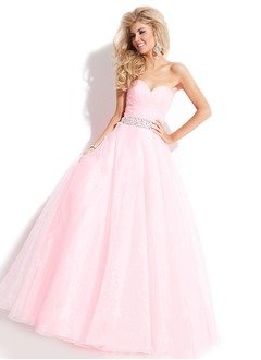 Ball-Gown Strapless Sweetheart Floor-Length Chiffon Tulle Prom Dress With Beading