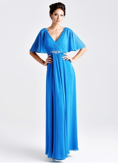 Empire V-neck Floor-Length Chiffon Mother of the Bride Dress With Ruffle Crystal Brooch Cascading Ruffles