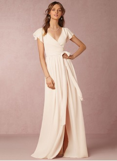 A-Line/Princess V-neck Floor-Length Chiffon Bridesmaid Dress With Split Front Cascading Ruffles
