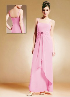 A-Line/Princess Strapless Floor-Length Chiffon Mother of the Bride Dress With Ruffle Crystal Brooch