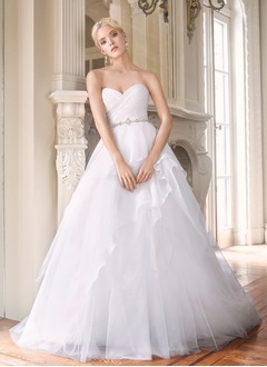 Ball-Gown Strapless Sweetheart Court Train Organza Wedding Dress With Ruffle