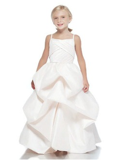 A-Line/Princess Strapless Floor-Length Taffeta Flower Girl Dress With Ruffle