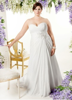 Empire Strapless Sweetheart Court Train Chiffon Wedding Dress With Ruffle Beading