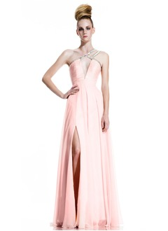 A-Line/Princess One-Shoulder Floor-Length Chiffon Evening Dress With Beading Split Front
