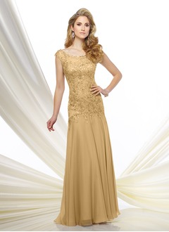 Trumpet/Mermaid Scoop Neck Floor-Length 30D Chiffon Mother of the Bride Dress With Beading Appliques Lace