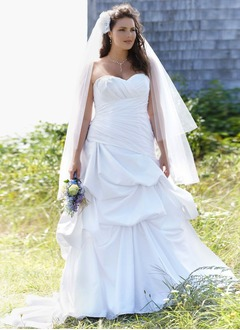 A-Line/Princess Strapless Sweetheart Sweep Train Satin Wedding Dress With Ruffle