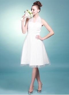A-Line/Princess Halter Knee-Length Satin Tulle Wedding Dress With Ruffle