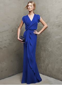 Sheath/Column V-neck Floor-Length Chiffon Evening Dress With Ruffle