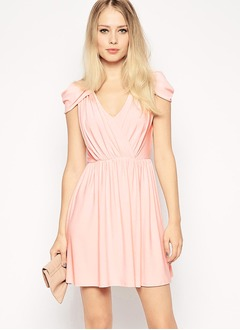 A-Line/Princess V-neck Short/Mini Chiffon Evening Dress With Ruffle