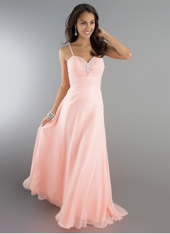 A-Line/Princess Sweetheart Floor-Length Chiffon Evening Dress With Ruffle Beading (0175098633)