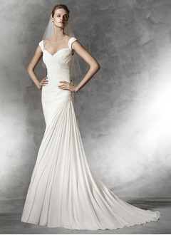 Sheath/Column Sweetheart Court Train Chiffon Wedding Dress With Ruffle