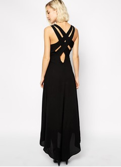 A-Line/Princess V-neck Asymmetrical Chiffon Evening Dress