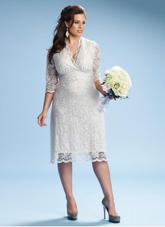 Sheath/Column V-neck Knee-Length Lace Wedding Dress With Ruffle