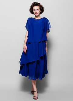 A-Line/Princess Scoop Neck Tea-Length Chiffon Mother of the Bride Dress With Ruffle Beading Cascading Ruffles