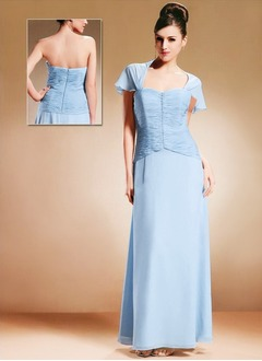 A-Line/Princess Sweetheart Floor-Length Chiffon Charmeuse Mother of the Bride Dress With Ruffle