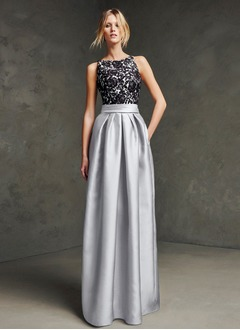 Ball-Gown Scoop Neck Floor-Length Satin Evening Dress With Ruffle Appliques Lace