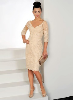 Sheath/Column V-neck Knee-Length Tulle Mother of the Bride Dress With Appliques Lace (0085094863)