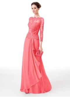 A-Line/Princess Scoop Neck Floor-Length Chiffon Lace Evening Dress With Lace Flower(s)