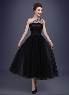 A-Linie/Princess-Linie One-Shoulder-Träger Knöchellang Satin Tüll Abiballkleid