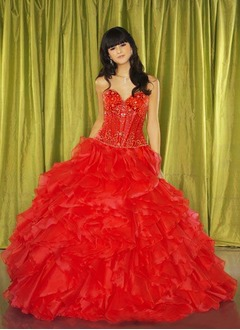 Ball-Gown Sweetheart Floor-Length Organza Satin Quinceanera Dress With Beading Cascading Ruffles