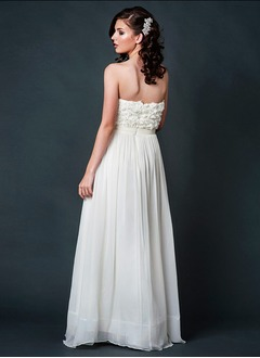A-Line/Princess Strapless Floor-Length Chiffon Bridesmaid Dress With Sash Flower(s)