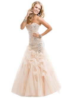 Trumpet/Mermaid Strapless Sweetheart Floor-Length Tulle Sequined Prom Dress With Ruffle Beading Sequins