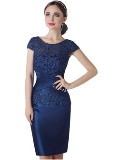 Sheath/Column Scoop Neck Knee-Length Satin Lace Mother of the Bride Dress With Beading Appliques Lace