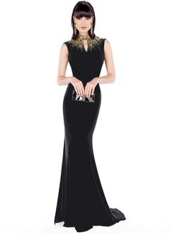 Trumpet/Mermaid High Neck Sweep Train Jersey Evening Dress With Beading