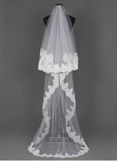 One-tier Chapel Bridal Veils With Lace Applique Edge (00605003698)