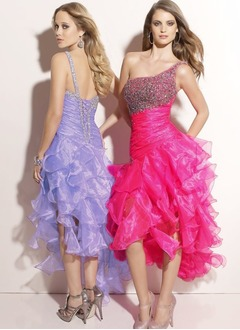 Trumpet/Mermaid One-Shoulder Asymmetrical Organza Prom Dress With Ruffle Beading Sequins Cascading Ruffles