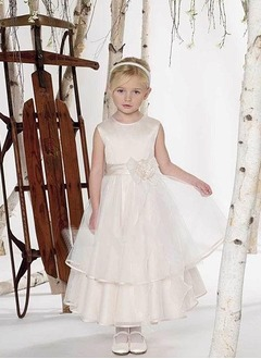 A-Line/Princess Scoop Neck Ankle-Length Organza Satin Flower Girl Dress With Ruffle