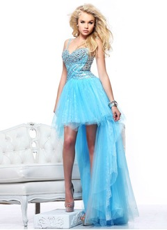 A-Line/Princess Sweetheart Asymmetrical Tulle Prom Dress With Beading Sequins