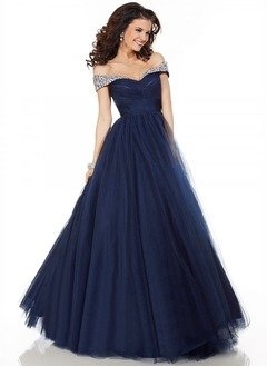 Ball-Gown Sweetheart Off-the-Shoulder Floor-Length Tulle Prom Dress With Ruffle Beading