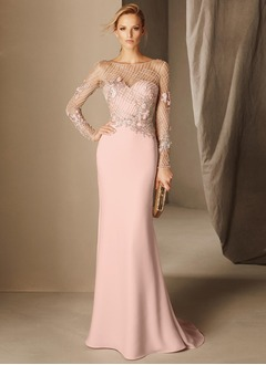 Sheath/Column Scoop Neck Sweep Train Charmeuse Evening Dress With Beading Appliques Lace
