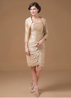 Sheath/Column Strapless Knee-Length Taffeta Mother of the Bride Dress With Ruffle Crystal Brooch