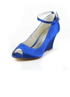 Women's Satin Wedge Heel Peep Toe Wedges With Buckle  ...