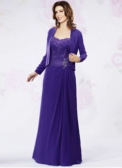 A-Line/Princess Strapless Sweetheart Floor-Length Chiffon Mother of the Bride Dress With Beading Appliques Lace