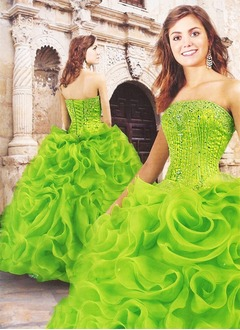 Ball-Gown Strapless Floor-Length Organza Quinceanera Dress With Beading Sequins Cascading Ruffles