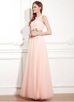 A-Line/Princess High Neck Floor-Length Chiffon Lace Evening Dress With Beading