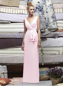 Sheath/Column V-neck Floor-Length Charmeuse Bridesmaid Dress With Ruffle