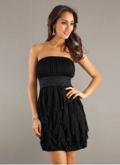 A-Line/Princess Strapless Short/Mini Chiffon Prom Dress With Beading Cascading Ruffles