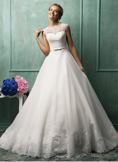 Ball-Gown Scoop Neck Chapel Train Organza Wedding Dress With Lace Appliques Lace Bow(s)