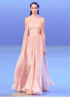 A-Line/Princess Halter Sweep Train Chiffon Evening Dress With Ruffle