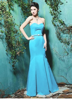 Trumpet/Mermaid Sweetheart Floor-Length Satin Bridesmaid Dress With Beading