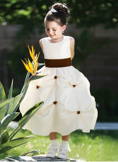 A-Line/Princess Scoop Neck Ankle-Length Satin Flower Girl Dress With Ruffle Sash